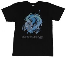 NEW Hatsune Miku Listen to My Heart Men Black T-shirt License DH378901 US Seller