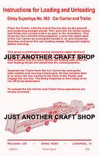 DINKY TOYS 983 auto Carrier & Rimorchio foglio di istruzioni