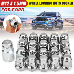 M12x1.5mm Alloy Wheel Nut Locking Bolt W/ Key For Ford Focus Fiest Mondeo