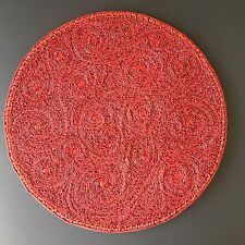 """x2 KIM SEYBERT Red Charger Set Paisley Beaded 15"""" Placemat Valentine Christmas"""