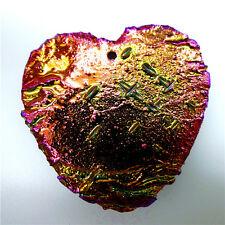 Titanium Crystal Heart  Agate Druzy Quartz Geode Stone Pendant Bead 40*40*6mm AT