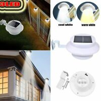 3LEDs Solar Powered Outdoor Lights Fence Yard Wall Gutter Pathway Garden Lamp