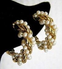 Monet Silver Gold Twist Faux Pearl Hoops Elegant Clip Earrings