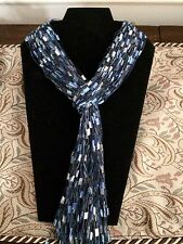 Scarf Blue Silver Yarn Necklace Handmade ladder ribbon trellis