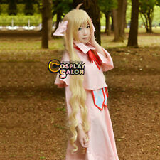 120CM Wavy Fairy Tail Mavis Vermilion Anime Blonde Neat Bang Cosplay Wig+Cap
