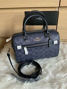 ❤️ Coach Signature Rowan Satchel Bag 93987 Denim Midnight NWT $328