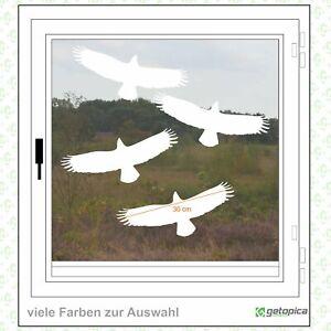 Vögel Aufkleber - Vogelschutz - 4 Stück -  Fenster - Warnvögel a 30cm weiss