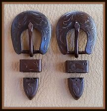 """2 - 1/2"""" Hand Engraved / Handmade Iron Buckle Sets  - Spur Straps Headstall  #7"""
