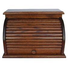 Bread Box Roll Top Amish Handcrafted Storage Solid Oak Bin Wooden