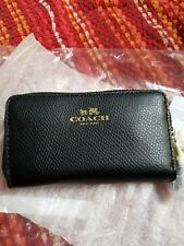 NWT Coach Small Double Zip Coin Case In Crossgrain Leather Black F63921