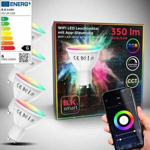 LED WiFi Leuchtmittel RGB CCT Lampe dimmbar Smart Birne GU10 Alexa Google 5,5W