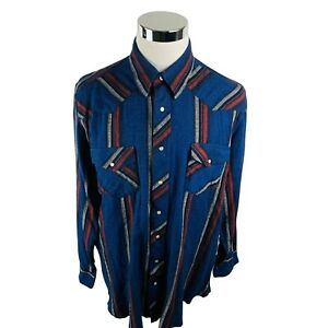 Wrangler Western Blue Red Gray Pearl Snap Button Front Shirt Men's XLT Tall