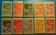 """TIMBRES FISCAUX """"DROIT DES PAUVRES"""" série de 10 valeurs différentes  - 1903"""