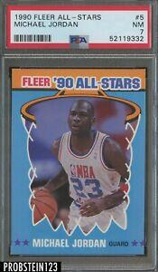 1990 Fleer All-Stars Basketball #5 Michael Jordan Chicago Bulls HOF PSA 7 NM