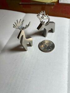 2 Mannfelt Small Metal Moose and Reindeer Art Figures