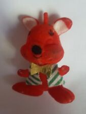 Small animal Vintage RED FLOCKED REINDEER CHRISTMAS xmas Decoration • pre-owned
