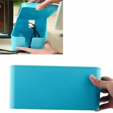 "13"" Cable Management Box Extension Lead Charger Hide Organiser Tidy Blue"