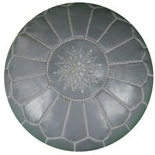 Moroccan Leather Pouf Grey - Delivered Stuffed, Ottoman, Footstool