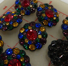 12 Czech black metal shank buttons covered with multi-color rhinestones 20mm 115