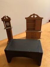 Vintage Lot Doll House Furniture Clock Hutch P61