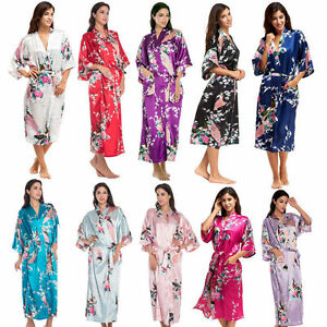 Silk Satin Kimono Robe Dressing Gown Wedding Bridesmaid Sleepwear Bathrobe UK