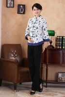 Chinese Traditional  Blouse Women Linen Shirt With Pants Summer Tops Size M-4XL
