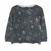 Talbots Womens Boat Neck Sweater Size XL Gray Paisley Merino Wool Knit Pullover