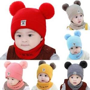 Kinder Baby Wintermütze Strickmütze Beanie Mütze Cap Mit Warm Schal Bommelmütze