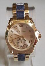 Women's Fashion Gold Finish With Denim Look Boyfriend Inspired Wrist  Watch