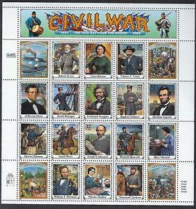 2975 MNH sheet of 20 32-cent stamps Civil War - Plate #S1111 LL