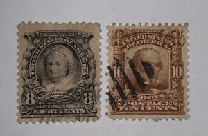 TRAVELSTAMPS: 1902-03 US Stamps Scott # 306, 307 Used, No Gum 8 Cent, 10 Cent