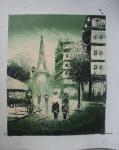 Hand Painted Landscape Oil Painting Paris Street Scene Eiffel Tower Wall Art B19