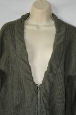 Daytrip Womens XL Green Long Sleeve Sexy V-Neck Zip Up Cardigan Sweater Soft bd3d8dca6
