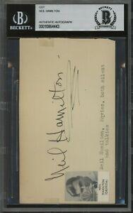 4443 Neil Hamilton Signed Cut AUTO Autograph Beckett BGS BAS