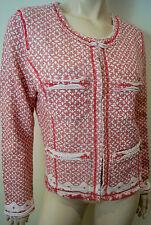 PLUS FINE Cream Pink Cotton Geometric Print Round Neck Blazer Jacket Sz:L BNWT