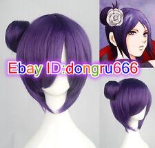 Women wig Short Purple Synthetic Hair Anime Naruto Konan Cosplay Party Wigs
