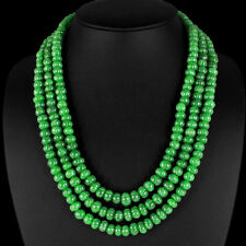 TREMENDOUS SUPERB 690.50 CTS NATURAL CARVED 3 LINE GREEN EMERALD BEADS NECKLACE