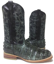 Mens Rustic Black Crocodile Alligator Leather Cowboy Western Rodeo Boots Size 7