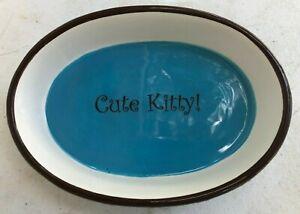 (2) Zack & Zoey Cutie Paw Cat Kitten Dish Saucer Sz 9 OZ Cute Kitty! NEW