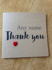Handmade Personalised Thank You Card (different Heart Colours Available)