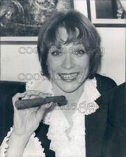 1976 Actress Shirley MacLaine Holding Big Cigar Press Photo