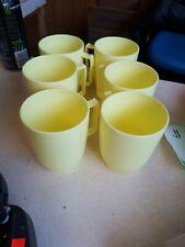 Set Of 6 Yellow Mid Century Melamine Cups Burlington basket Co.