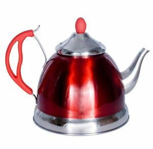 Prima 11168c Red Stainless Steel Teapot 1.5 litre