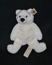 Peluche doudou ours blanc polaire WWF ÖKO yeux brodés 19 cm 100% NEUF