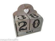 Calendario Perpetuo Blocchetto In legno Imbiancatura Shabby Chic Sass & belle