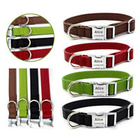 PU Leather Dog Collar Personalized Pet ID Collars Free Engraved Customized S-L