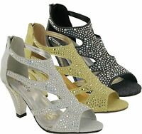 Ladies New Strictly Diamante Establishment Wedding Party Dressy Peep Toe Sandals