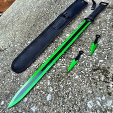 "27"" Ninja Sword Machete GREEN Full Tang Tactical Blade Katana & Throwing Knives"