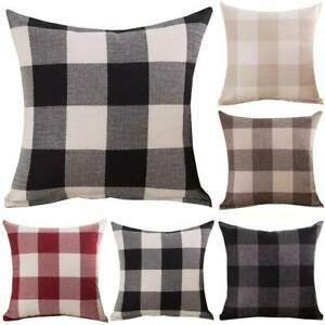 Tartan Check Cushion 45x45 Choose Cover Only or Filled Cushion Woven Look Plaid