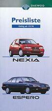 Daewoo Nexia Espero Preisliste 1.8.96 car price list 1996 Auto PKWs Asien Korea